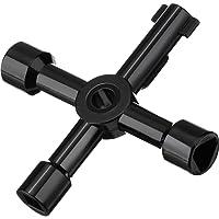 4-Modi Multifunzionale Chiave di Utility per Elettrico Acqua Gas Metro Scatola Armadio Cabinet, Nero