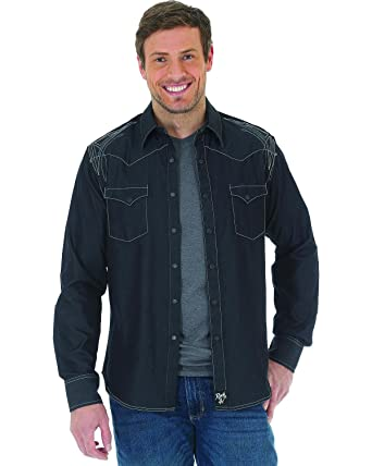 b2e5a4aacbc Wrangler Men s Rock 47 Embroidered Long Sleeve Snap Shirt at Amazon ...