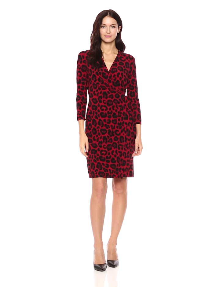 Anne Klein Womens Animal Print Wrap Dress at Amazon Womens Clothing store: