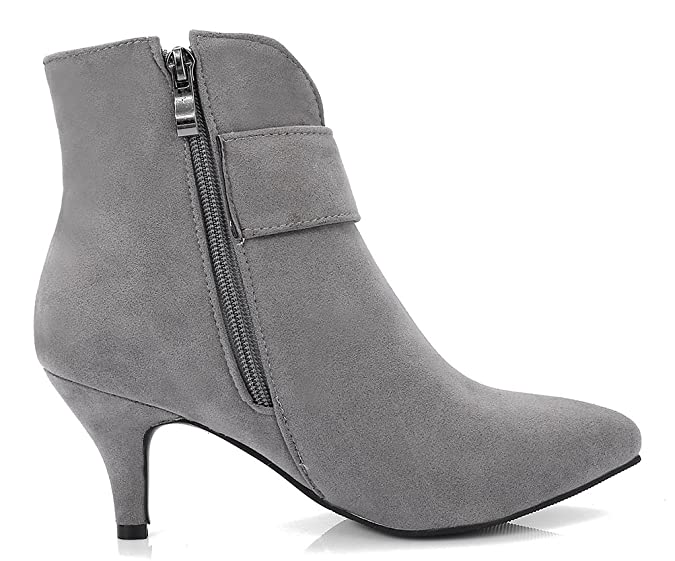 Easemax Damen Elegant Pointed Toe Strass Riemen Ankle Boots Pumps Grau 34 EU 48v6xl35eT