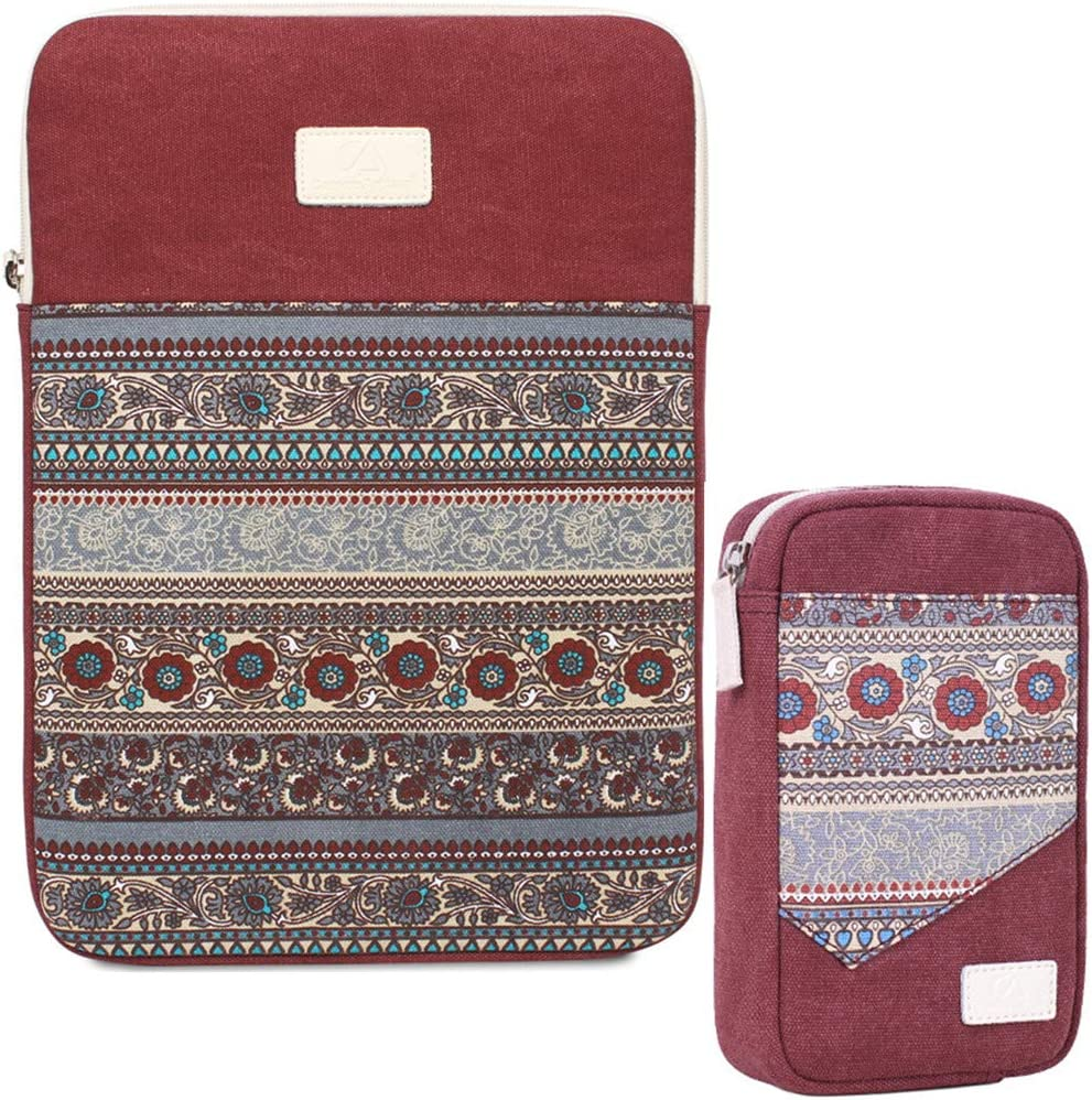 13 Inch Laptop Sleeve Bohemian Canvas Protective Notebook Bag Computer Case Cover for MacBook Pro MacBook Air Chromebook Acer Dell HP Samsung Sony + Cable Organizer (Vertical,Red)