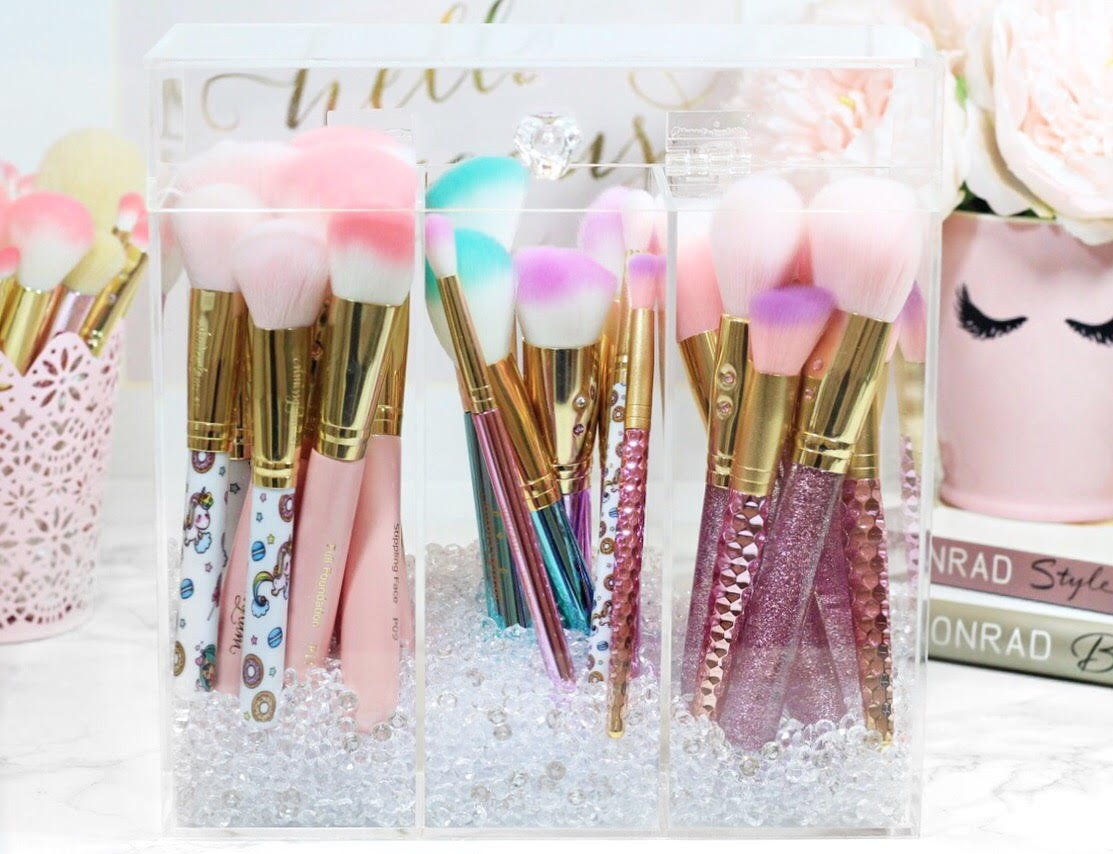 Acrylic Makeup brush holder with diamond beads