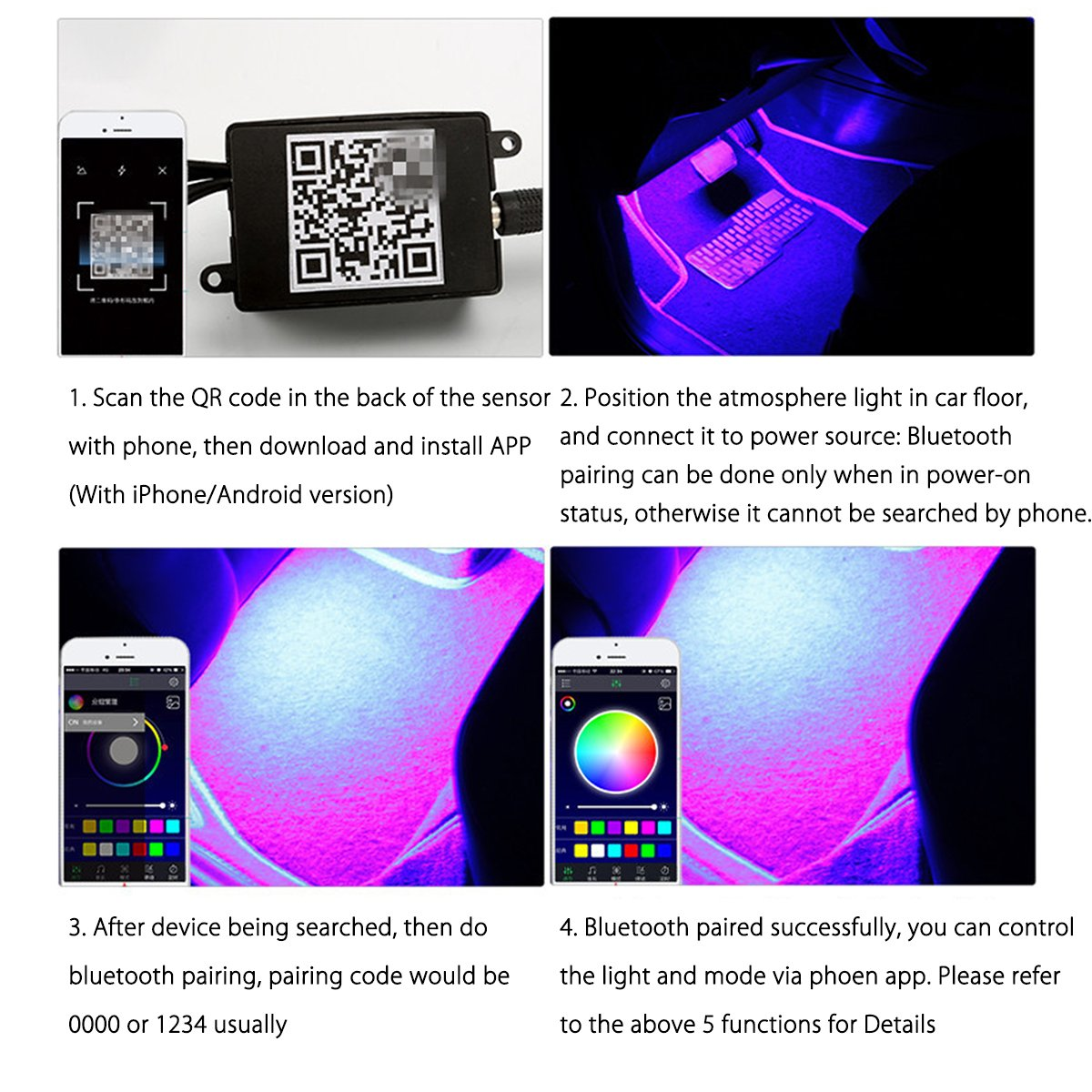 This controller lets you control 4 different branches of lights - 4 X 12 Led Car Led Strip Lights App Bluetooth Controller With Car Cigarette Lighter Oenbopo 48 Led Car Interior Decorative Light Rgb Music Atmosphere