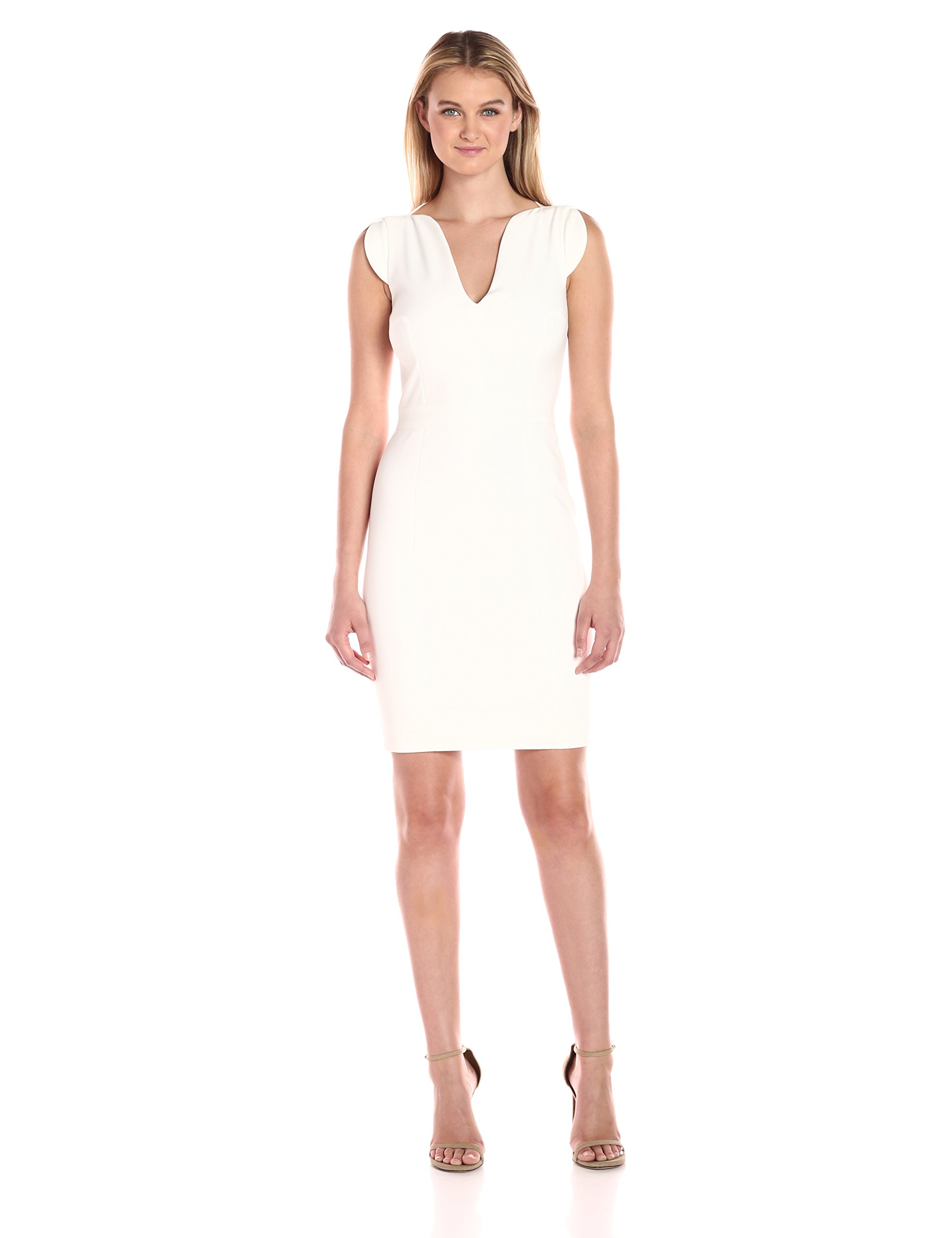 French Connection Women's Lolo Classic Stretch Bodycon Sleeveless Dress, Summer White, 10