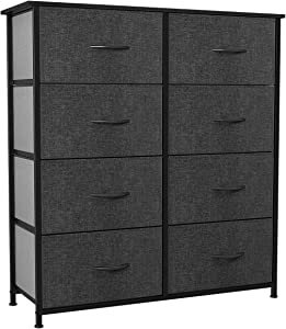 YITAHOME Storage Tower with 8 Drawers - Fabric Dresser with Large Capacity, Organizer Unit for Bedroom, Living Room& Closets - Sturdy Steel Frame, Easy Pull Fabric Bins & Wooden Top (Black/ Grey)