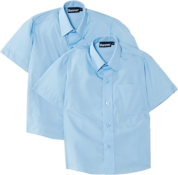 Blue Max Banner Boys Twin Pack B Short Sleeve School Shirt