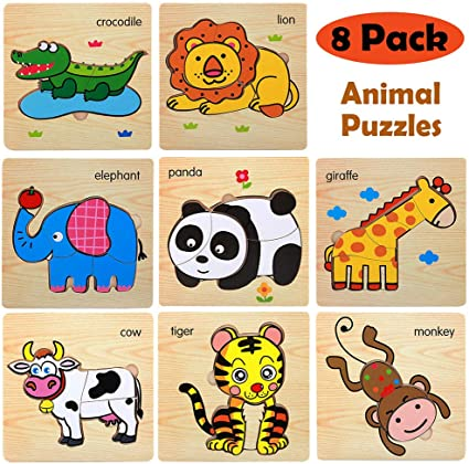 Amazon Com Wooden Jigsaw Puzzles For Toddlers Age 2 3 4 5 Year Old Preschool Animals Puzzles Set For Kids Children Shape Color Learning Educational Puzzles Toys For Boys And Girls 8 Pack Toys Games