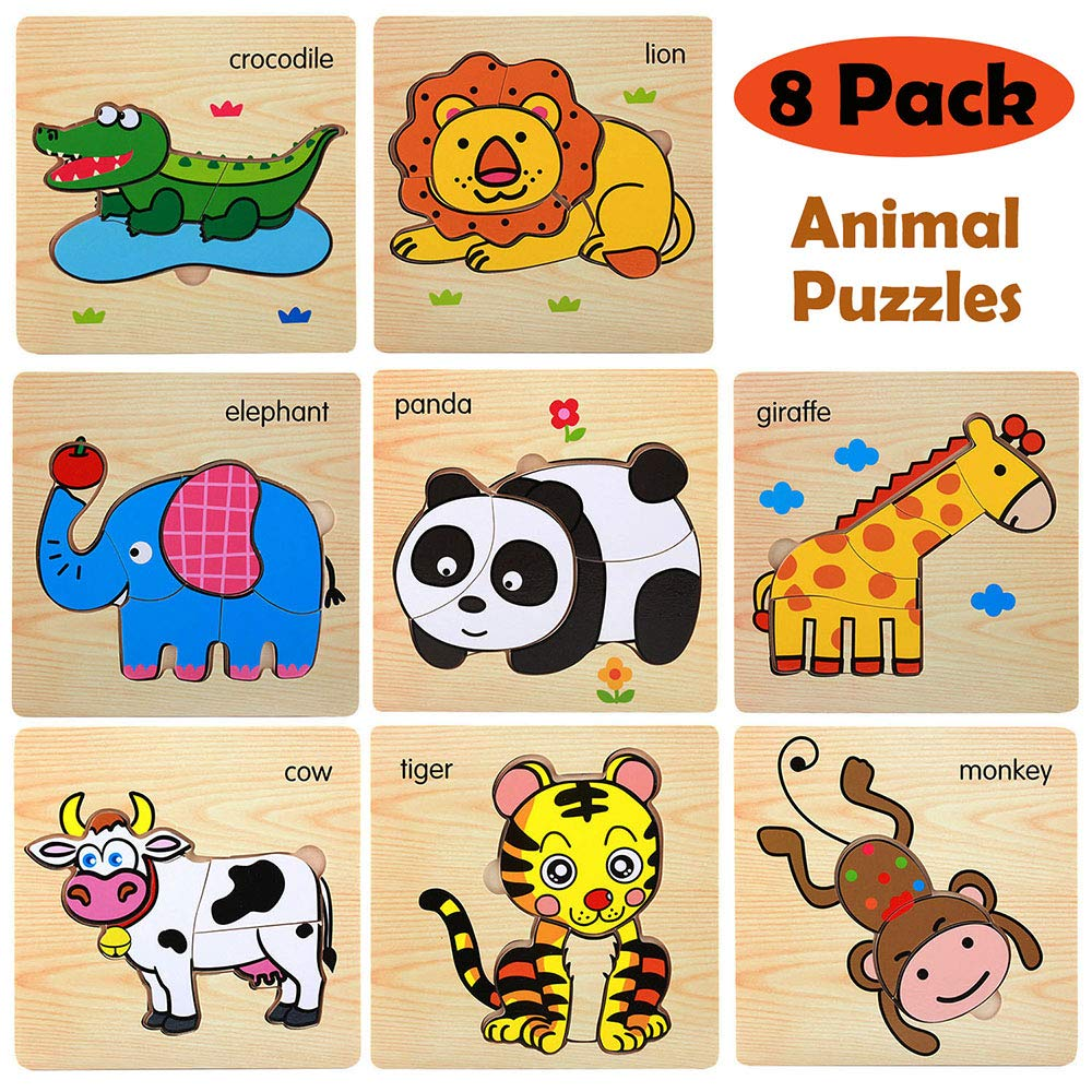 Wooden Jigsaw Puzzles for Toddlers Age 2 3 4 5 Year Old, Preschool Animals Puzzles Set for Kids Children, Shape Color Learning Educational Puzzles Toys for Boys and Girls (8 Pack) by CHAFIN