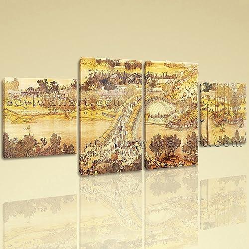 Large Landscape Hd Print Famous Art Asian Canvas Dining Room Four Panels