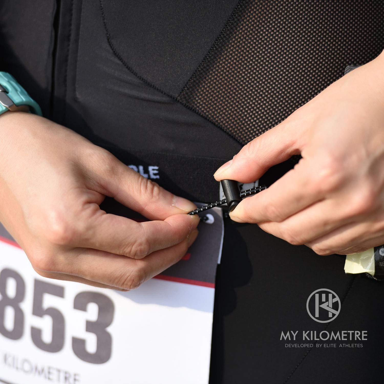 MY KILOMETRE Race Number Belt Triathlon Race Bib Belt Bib Holder for Running Cycling Marathon with Fasteners Guarding Against Loss