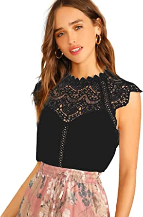 SheIn Women's Elegant Cap Sleeve Keyhole Contrast Lace Blouses Tops