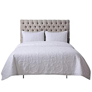 Soul & Lane White as Snow 100% Cotton White 3-Piece Quilt Set with Paisley Stitching (King) | with 2 Shams Pre-Washed Machine Washable Medium Weight Bedspread Coverlet