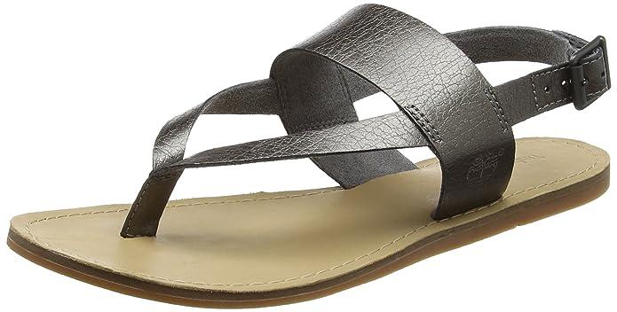 Timberland Carolista Ankle Thonggunmetal Metallic, Sandales Compensées Femme, Vert (Gunmetal Metallic), 39 EU
