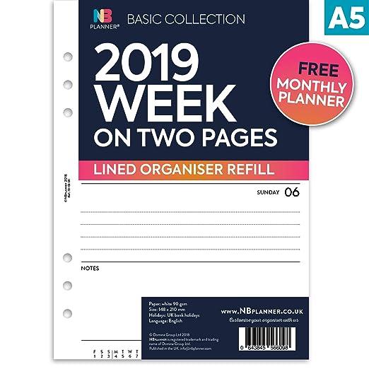 NBplanner® 2019 - Planificador de dos páginas (tamaño A5 ...