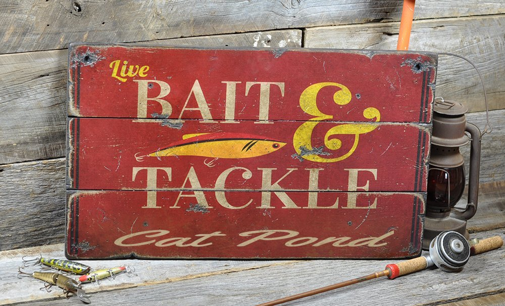 Cat Pond New York, Bait and Tackle Lake House Sign - Custom Lake Name Distressed Wooden Sign - 22 x 38 Inches