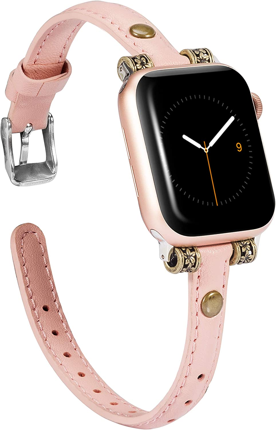 Wearlizer Leather Bands Compatible with Apple Watch Band 38mm 40mm for iWatch Womens Mens Special Slim Vintage Wristband Replacement Strap SE Series 6 5 4 3 2 1 Edition - Pink