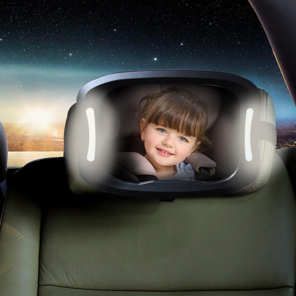 Amazon Com Led Car Back Seat Mirror By Joyren Shatterproof Rear