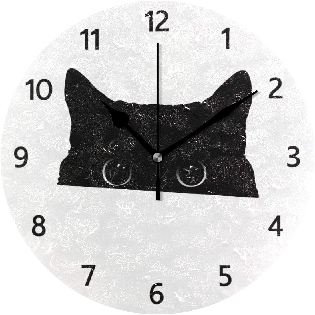 MERRYSUGAR Black Cat White Wall Clock Silent Non Ticking Digital Round Clock Desk Clock for Home Kitchen Office School Home Decor 9 Inch