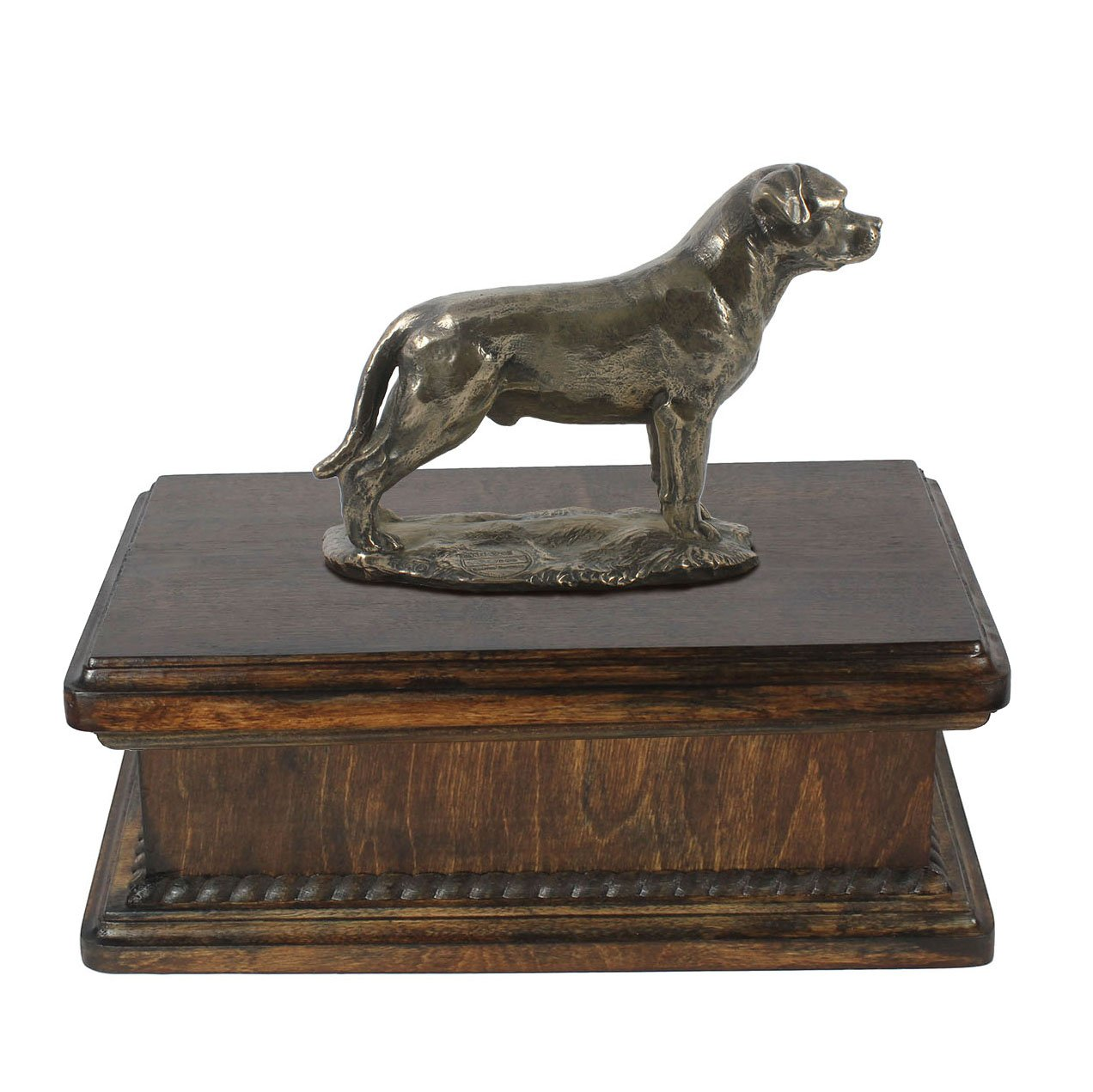 Rottweiler with tail, memorial, urn for dog's ashes, with dog statue, exclusive, ArtDog
