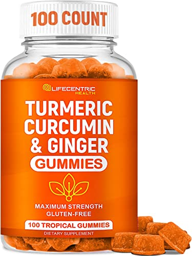 Turmeric Gummies for Adults Kids Max Strength Anti Inflammatory Turmeric and Ginger Gummies Supplement Vegan Organic Natural Turmeric Curcumin Gummies for Joint Pain Inflammation Health