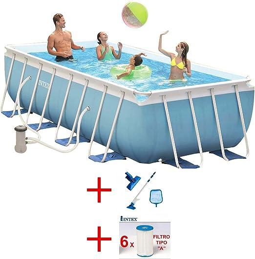Oferta piscina Intex Prisma Metal Frame 488 x 244 x 107 Kit Limpieza + 6 Cartuchos: Amazon.es: Jardín