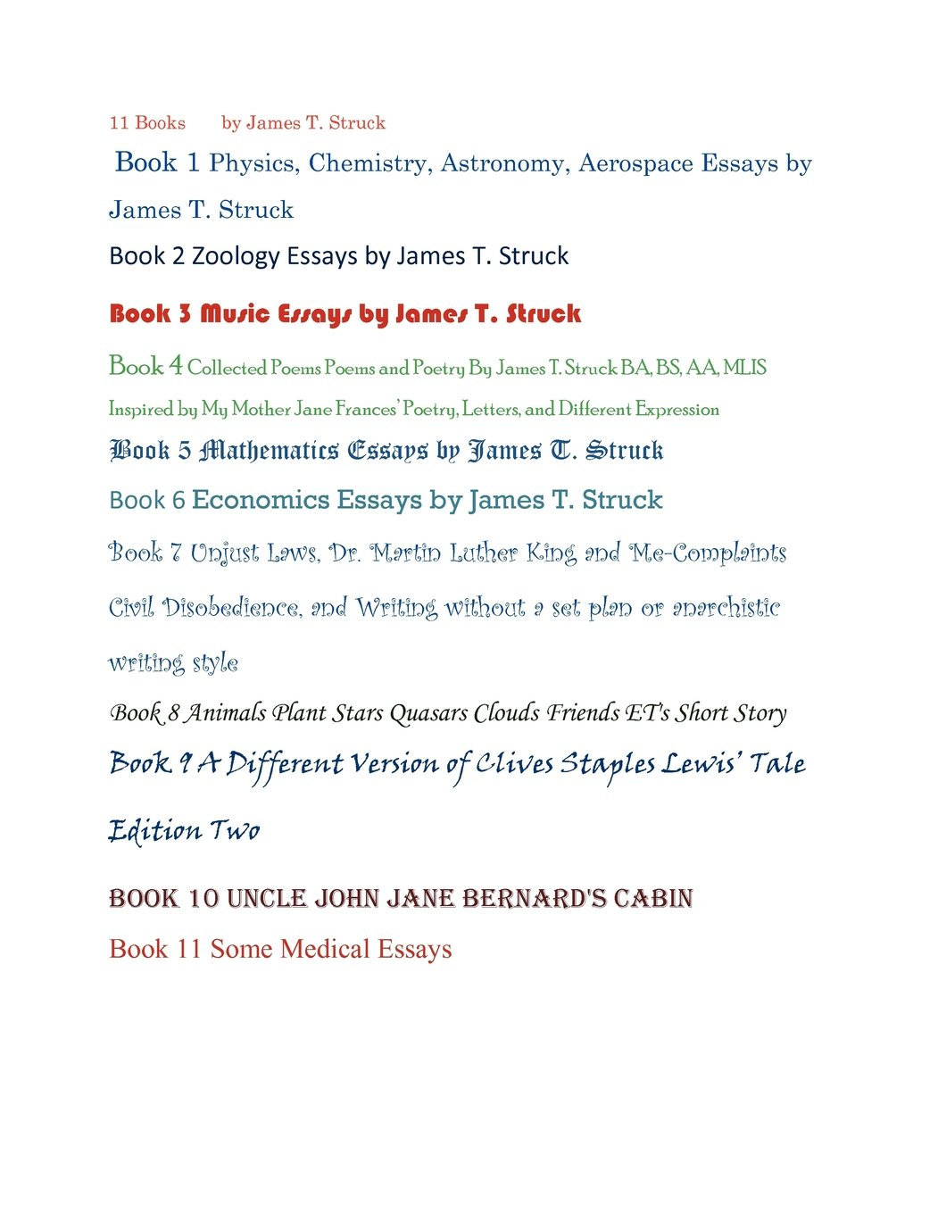 books physics astronomy chemistry zoology music poetry 11 books physics astronomy chemistry zoology music poetry economics stories math medicine essays by james t struck or james strakalaitis james