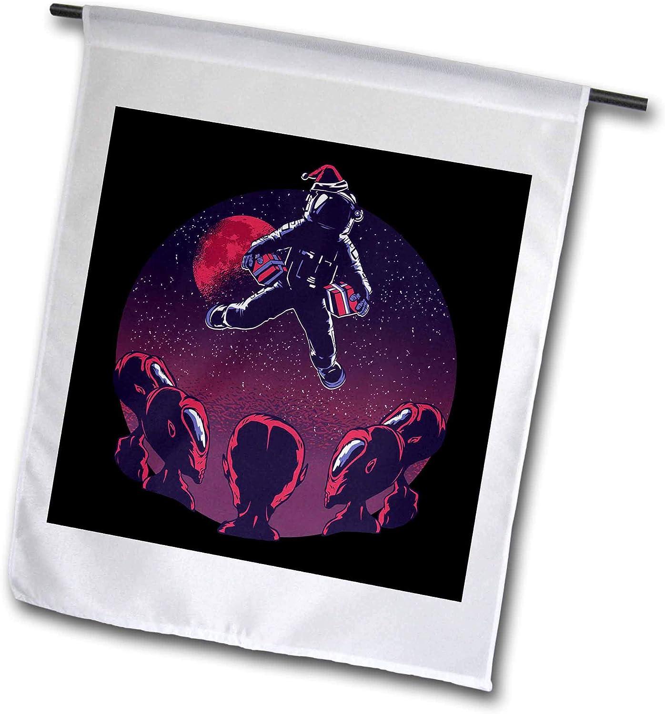 3dRose Sven Herkenrath Fantasy - Astronaut and Aliens and Stars - 12 x 18 inch Garden Flag (fl_306914_1)