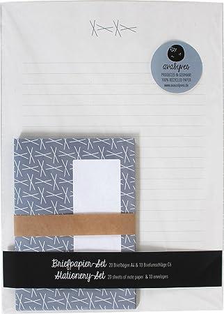 Elegante diseño Juego de papel de cartas con sobres (Azul de ...