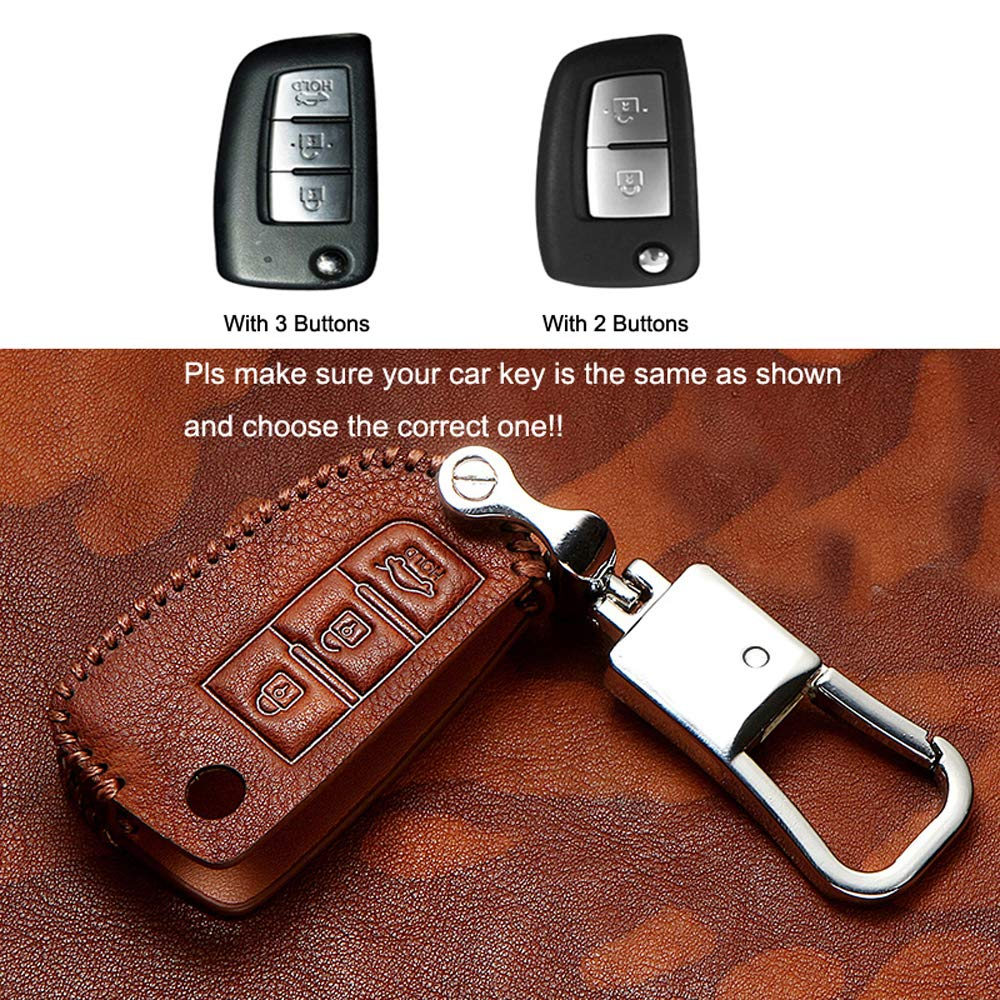 March 08-16 Leather Key Cover Bag Fob Shell Case Car Smart Key Case for Nissan Rogue X-Trail Altima Teana Sentra Sylphy 08-18 Kicks Murano 15-18 Smart Key with 4 Buttons, Brown Qashqai 13-18