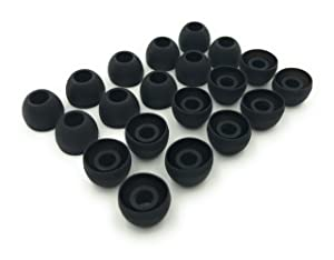 10 Pairs Medium Silicone Replacement Earbud Ear Buds Tips - Black