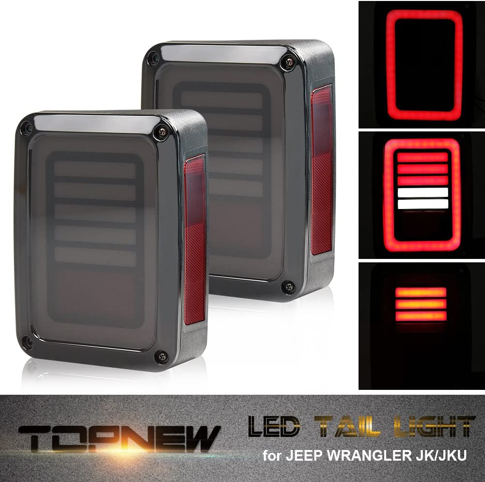 TOPNEW Jeep Wrangler Smoke LED Tail Lights