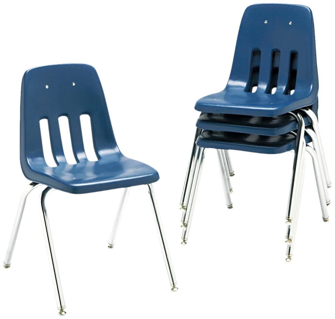 Virco Student Chair, Navy, Soft Plastic Shell, 16'' Seat Height, Chrome Frame, for 3rd - 4th Grade, 4 Pack (9016-BLU51)