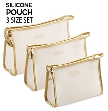 60406673d171fa Amazon.com: Le Sac Silky Soft Silicone Cosmetic Pouch Makeup Bag 3 Size  Holiday Gift Set: Bag It