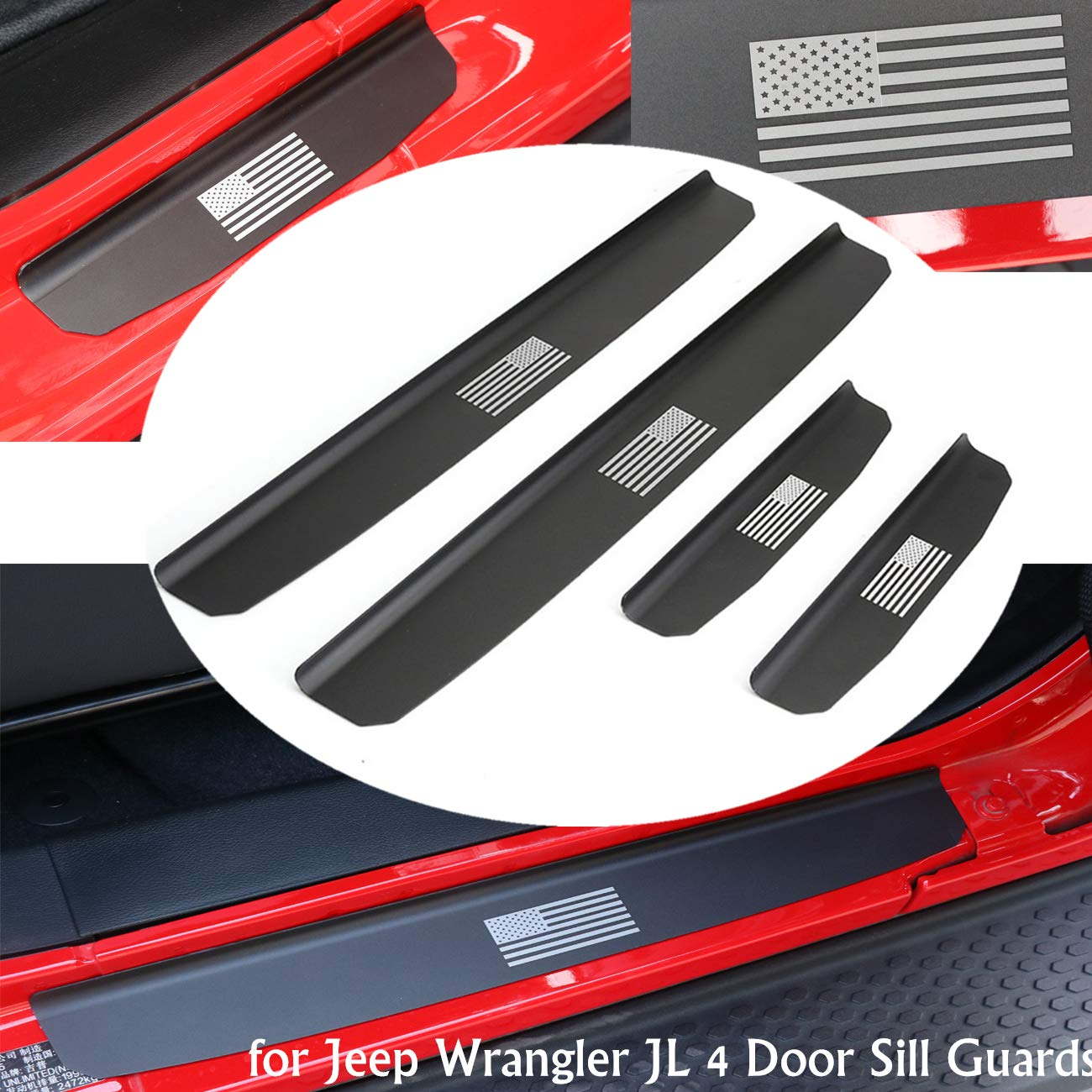 for 2018-up Jeep Wrangler JL 4 Door Sill Guards Aluminium AUFER Door Entry Guards Step Sill Guard Scuff Plate Protectors