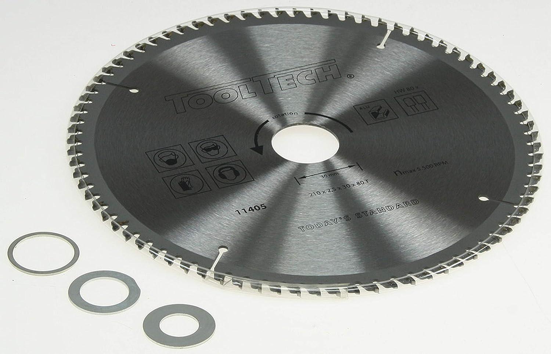 Handkreissägeblatt 210 x 30 mm x 80T für Alu Kunststoff 3Reduzierringe HM Sägeblatt