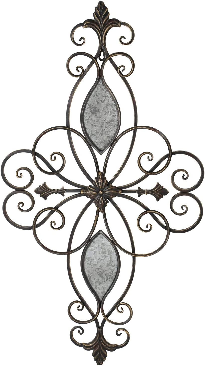 """Adeco Flower Urban Rustic Starburst/Fleur De Lis Design Decorative Scrolled Metal Decor for Nature Home Art Decoration & Kitchen Holiday Wall Decorations, Christmas Wall Art Gifts, 19.25""""x32.25"""""""