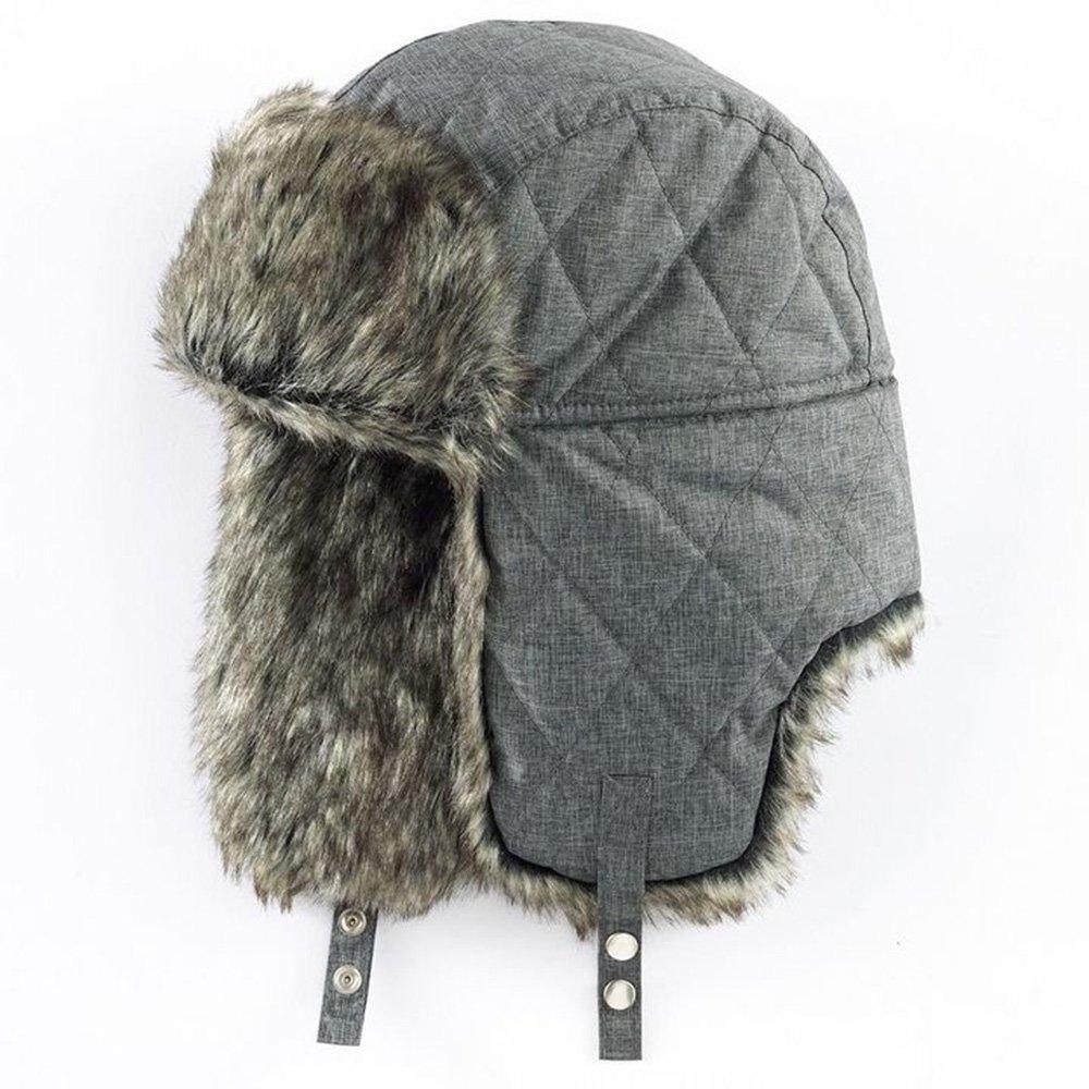 7fa187c2d6aa0 Apt. 9 Mens Winter Warm Trapper Hat - Tech Fabric (Grey) at Amazon Men s  Clothing store