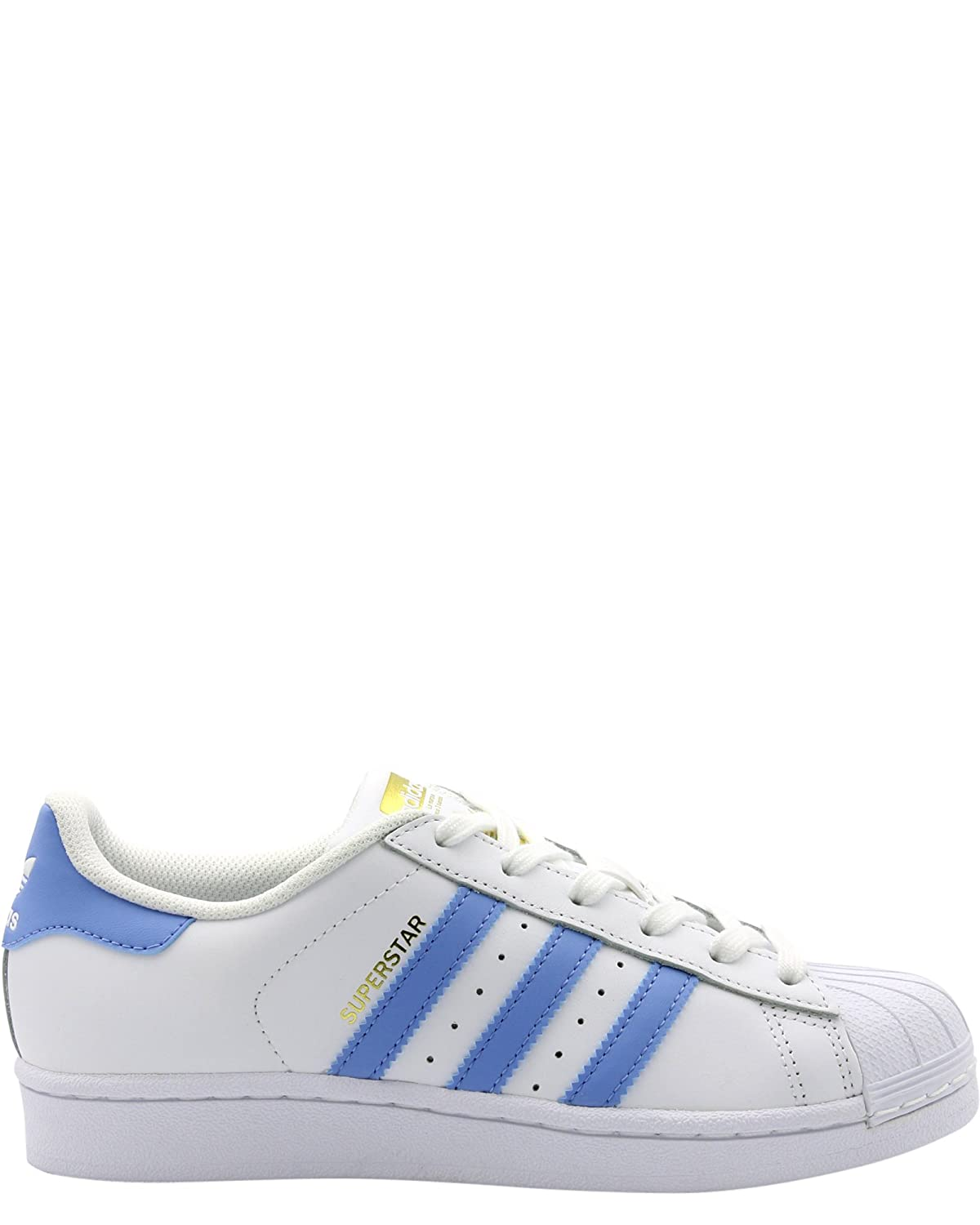 new product e8871 5957a adidas Youth Superstar Foundation White Blue Leather Trainers 4 US