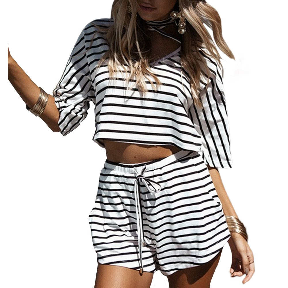 c5178b4a48 Amazon.com: Romacci Women's Summer 2 Piece Outfits Casual Stripe V Neck  Crop Tops Shorts Set Beach Rompers Playsuits: Clothing