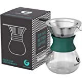 Pour Over Coffee Maker For Perfect Hand Drip Coffee. 1-2 Cup 10oz Carafe by Coffee Gator with Permanent Stainless Steel Filter - Never buy another paper filter again -