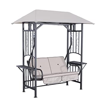Outsunny 2 Person Patio Swing Chair w/ Canopy Shade - Beige  sc 1 st  Amazon.com & Amazon.com : Outsunny 2 Person Patio Swing Chair w/ Canopy Shade ...