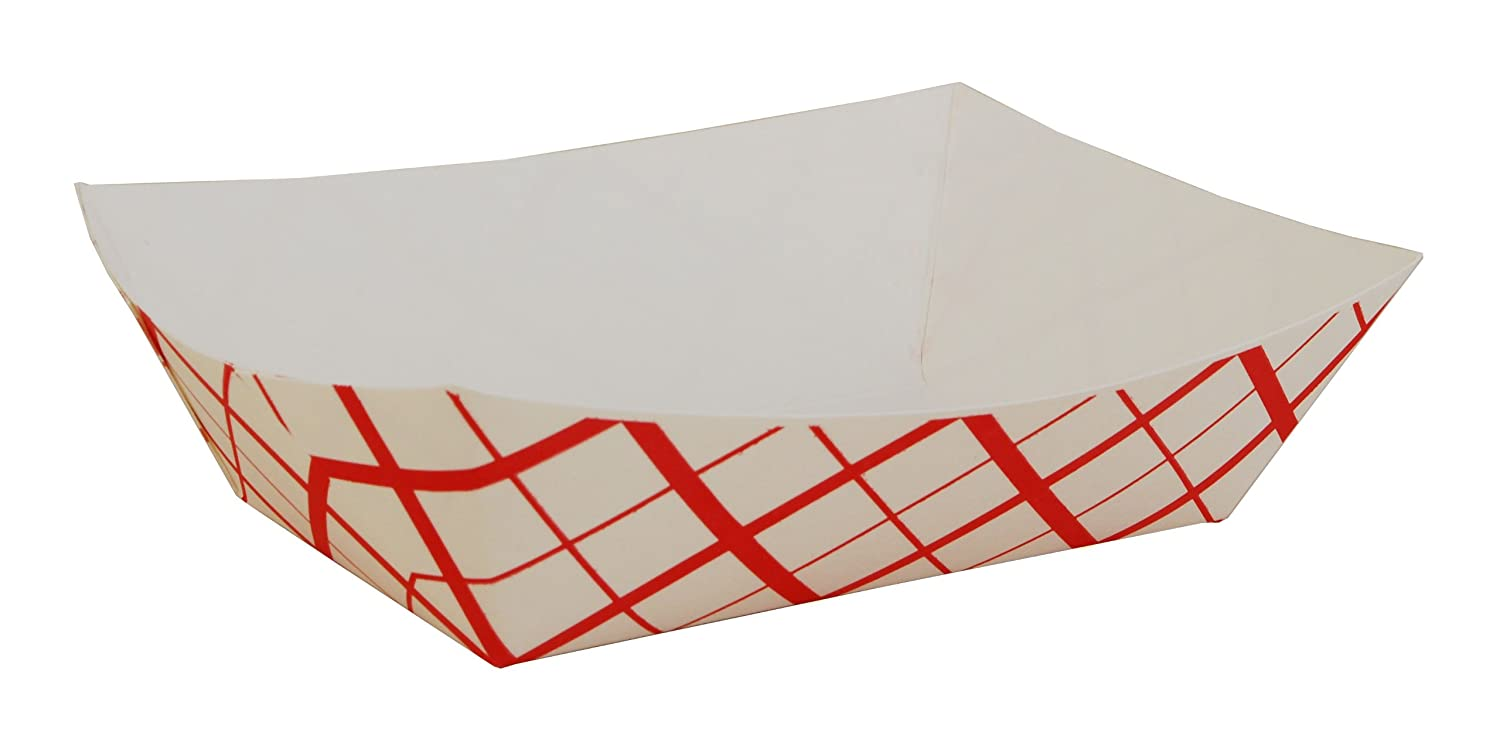 Southern Champion Tray 0425 #300 Southland Red Check Paperboard Food Tray / Boat / Bowl, 3 lb Capacity (Case of 500)