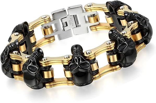 Bracelet chaîne moto tête de mort noir et or