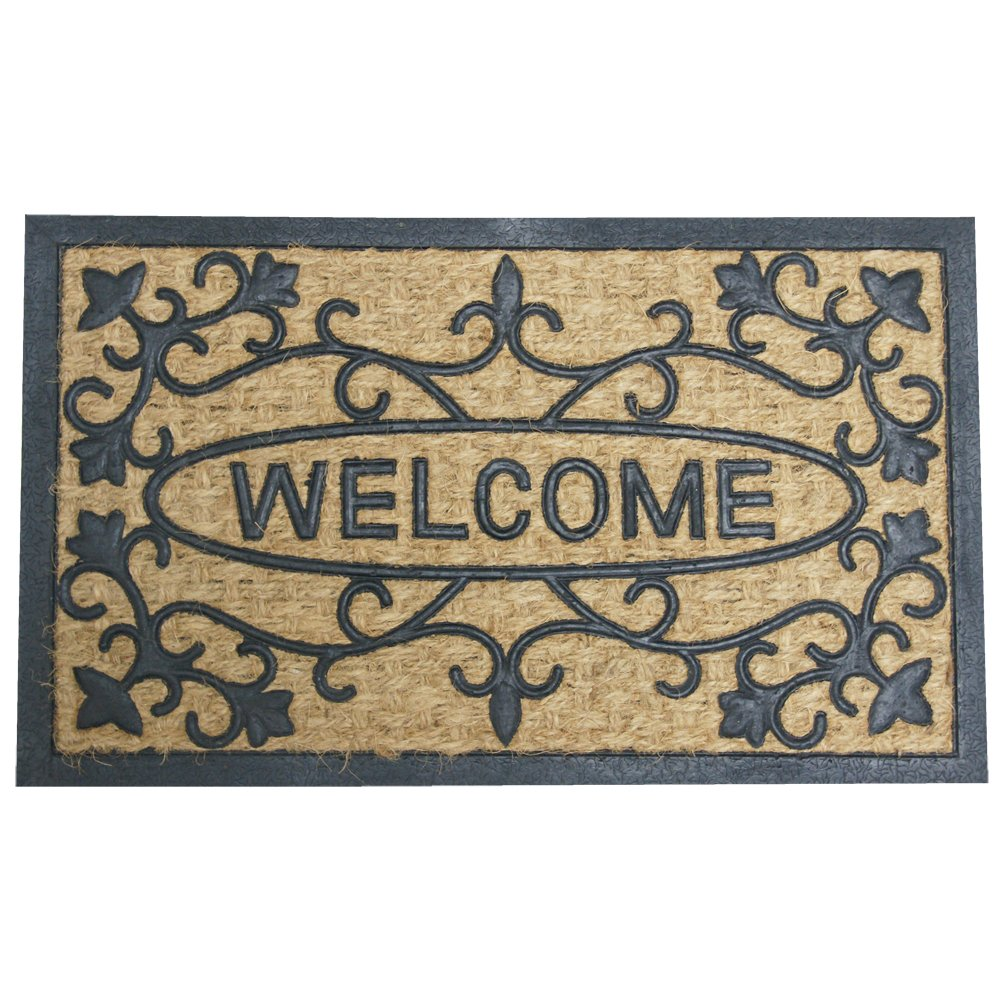 Rubber-Cal 10-102-529 Welcome To Our House Outdoor Coir Rubber - 18 x 30 Welcome Mat