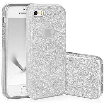 QULT Carcasa para Móvil Compatible con iPhone 5, iPhone SE, iPhone 5S Funda Silicona Dura Bumper Teléfono Brillar Purpurina Caso para iPhone 5, 5S, SE ...