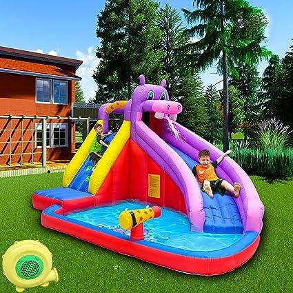 CATLXC Inflable Grande toboganes de Agua para los niños Hippo temáticas portátil Piscina para niños cumpleaños Partes: Amazon.es: Deportes y aire libre