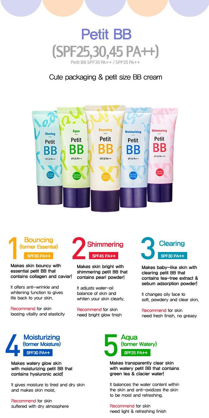 holika holika - BB Cream spf25 PA + + - Petit BB crema Aqua con té verde, agua y claro protector solar para una imagen piel impecable para mujeres - BB ...