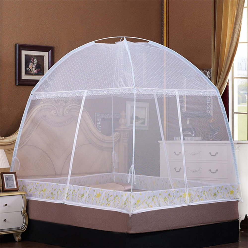 RuiHome 3-Doors Free-Standing Mosquito Net Tent with Floor Portable Bed Canopy Insect Netting for Home Travel (White) T-38