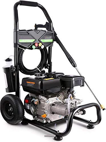Pujua 4200PSI 2.8GPM Gas Pressure Washer Power Washer 212CC Gas Pressure Washer Powered, High-Pressure Hose 5 Nozzles, 2-Year Warranty Black