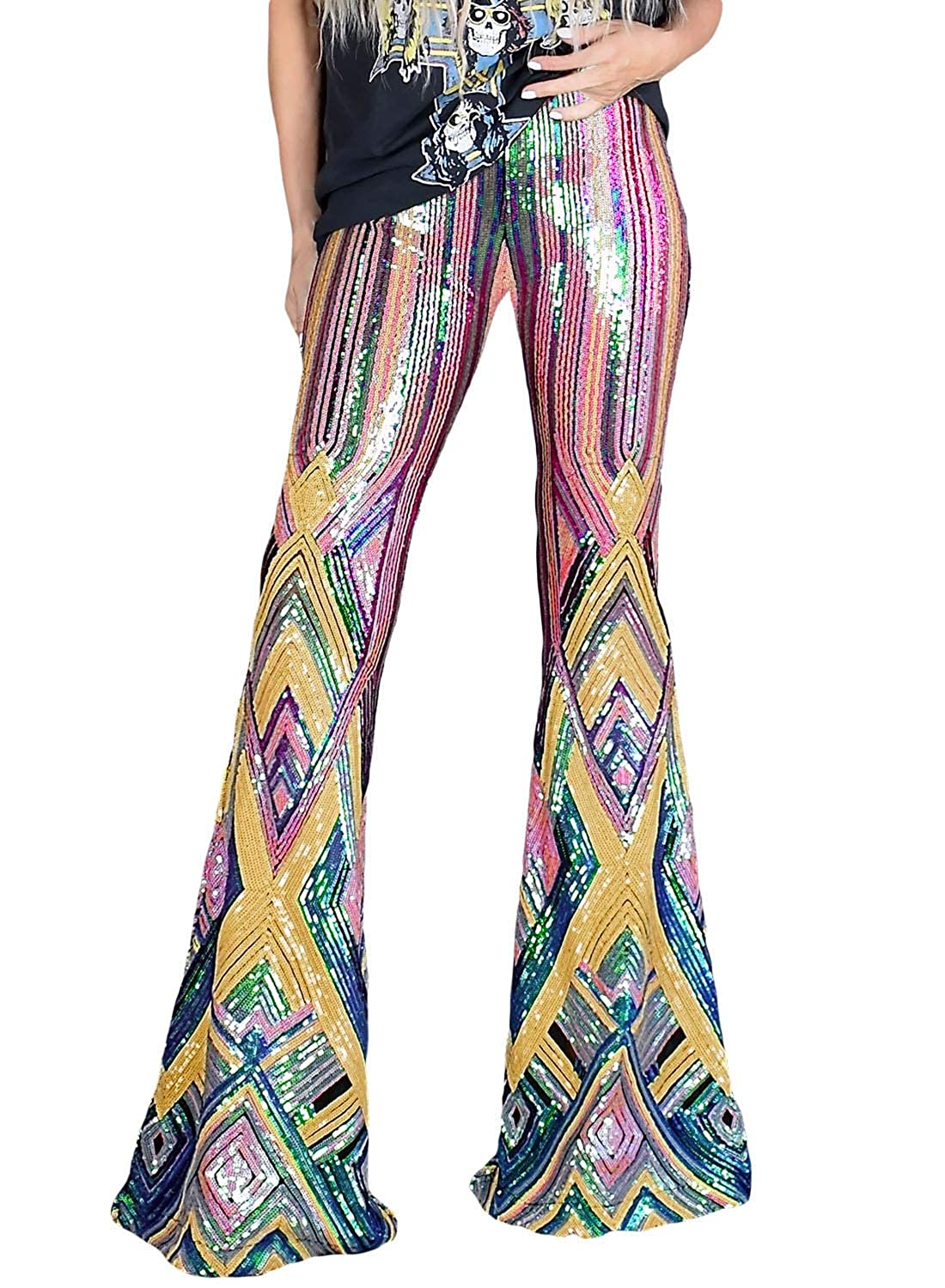 Azokoe Womens Fashion Sequin Flared Trousers High Waisted Casual Loose//Skinny Glitter Overalls Legging Maxi Pants
